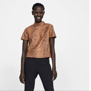 ec47705497cc64 Zara Tops | Faux Suede Snakeskin Print Top | Poshmark